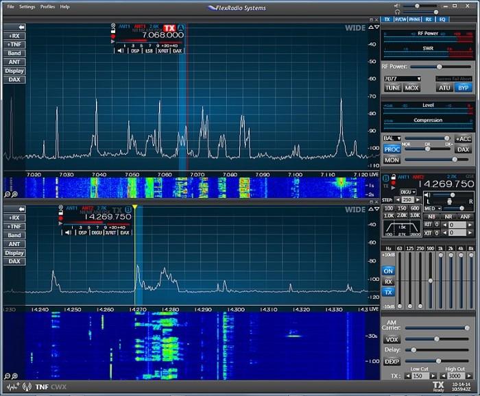 schermafbeelding smartSDR van flex-radio, flexradio gui